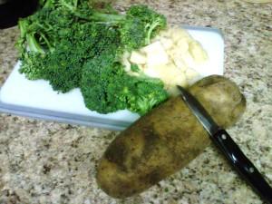 Chop Broccoli and Potatoes